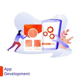 Landing page app development illustratie moderne, digitale marketing