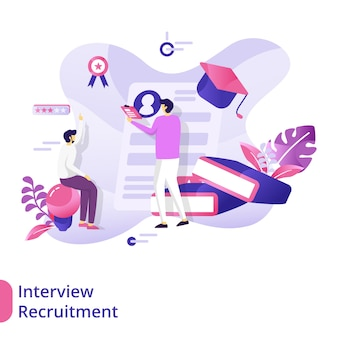 Landing page interview recruitment illustratie concept