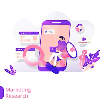 Landing page marketing research vector illustratie modern concept