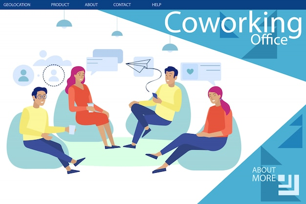 Landing page presenting modern coworking office