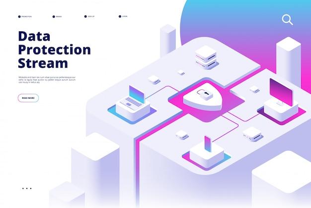 Landing van gegevensbescherming. telefoonbeveiliging wachtwoordverificatie geldoverdracht beschermen beveiligde toegang veiligheidsapp isometrisch