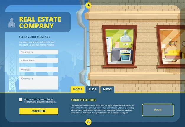 Landing van onroerend goed. vind uw appartement of commercieel gebouw lay-out sjabloon met stedelijk stadslandschap en webformulieren ontwerp