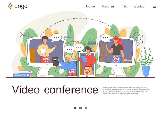 Landing van videoconferenties. online zakelijke conferentie. online webinar. mensen luisteren naar de docent