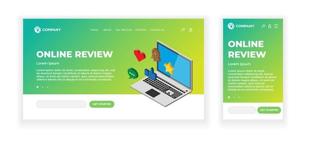Landing webpagina concept ontwerpsjabloon. online beoordelingsthema. 3d-laptopapparaat met feedbackclassificatieborden - duim omhoog, hart, bericht, ster. mobiele app, gebruikersinterface, ux, site. vectorillustratie eps10