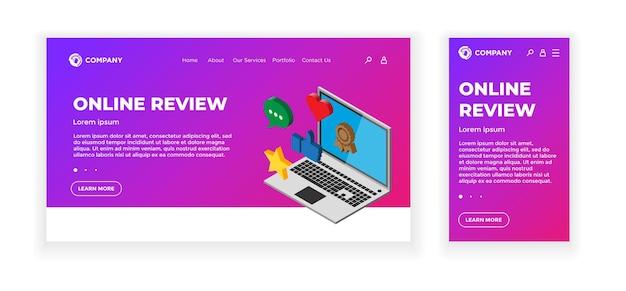 Landing webpagina concept ontwerpsjabloon. online beoordelingsthema. laptopapparaat met feedbackclassificatieborden - duim omhoog, hart, bericht, ster. mobiele app, gebruikersinterface, ux, site. vectorillustratie eps10