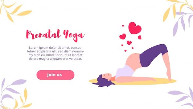 Landing webpagina prenatale yoga, sport toekomstige moeder