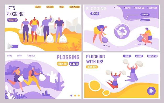 Landing webpagina set, mensen joggen en verzamelen vuilnis illustratie.