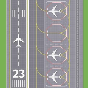 Landingsbanen op de luchthaven. vliegtuigvervoer, landingsbaan voor luchtvaart, vectorillustratie