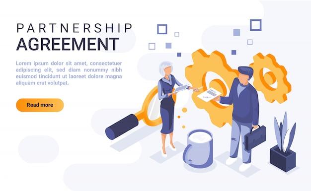 Landingspagina banner partnerschapsovereenkomst met isometrische illustratie