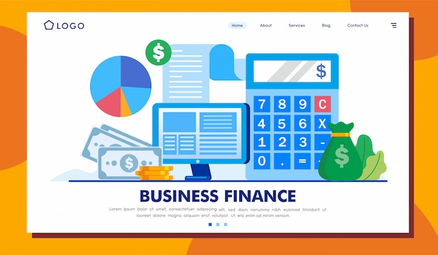 Landingspagina bedrijfsfinanciën website ilustration template