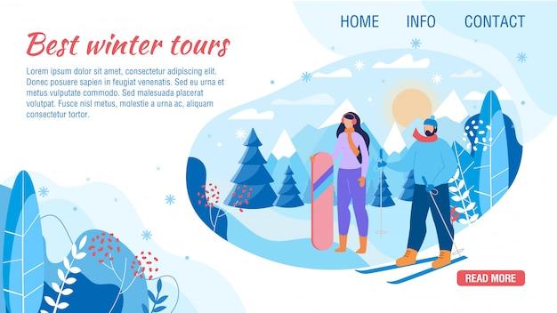Landingspagina biedt de beste wintertour voor weekenden