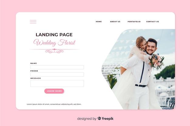 Landingspagina bruiloft met foto