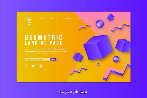 Landingspagina concept met geometrische vormen