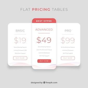 Landingspagina concept met tabellen voor vlakke prijzen