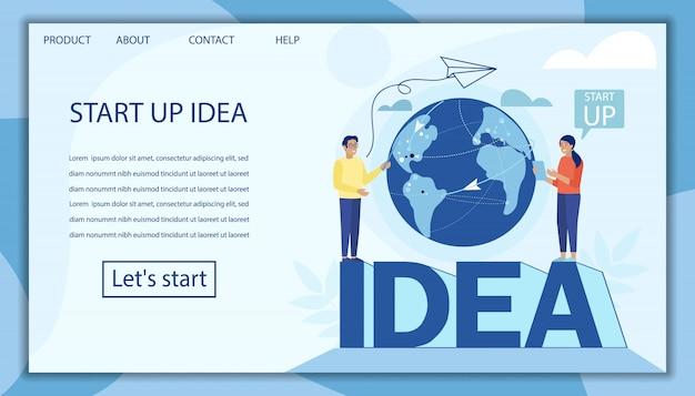 Landingspagina die de ontwikkeling van startup-ideeën aanbiedt