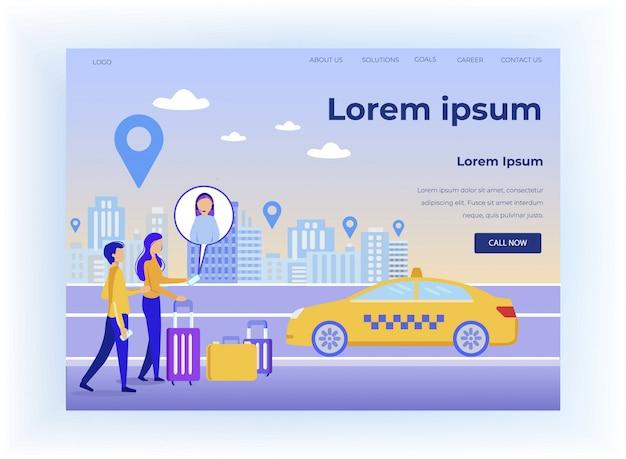 Landingspagina die online taxi-oproep aanbiedt mobiele app