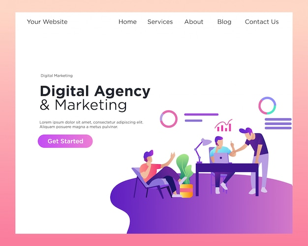 Landingspagina. digitale marketing. digital agency