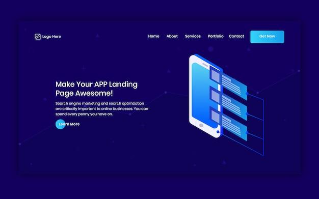 Landingspagina header van mobiele app