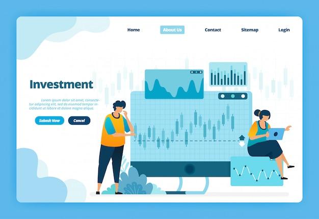 Landingspagina illustratie van investering. forex voor moderne investeringsopties met handel in valuta en grondstoffen