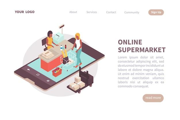 Landingspagina-indeling van onlinesupermarkt met plaats voor tekstinformatie over services en isometrische contacten
