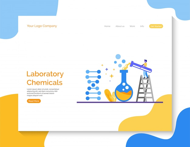 Landingspagina. laboratoriumchemicaliënvector voor website.