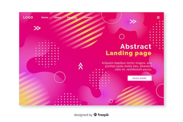 Landingspagina met abstracte vormen
