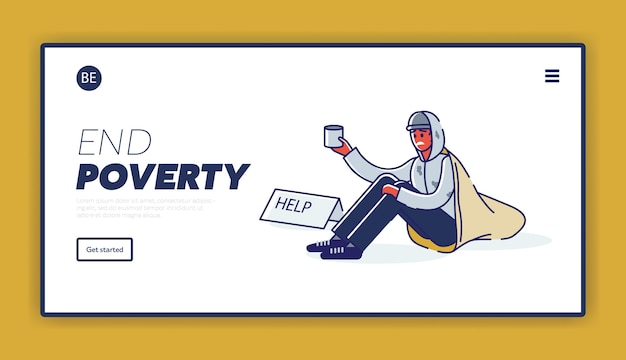 Landingspagina met armoedeconcept en dakloze afro-amerikaanse man die om geld bedelt