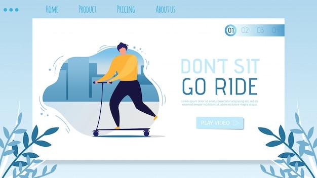 Landingspagina met go ride-inspiratie voor mensen.