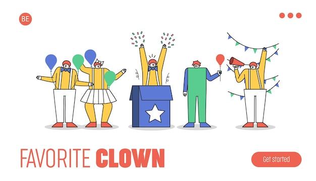 Landingspagina met groep grappige clownpersonages in kostuums voor circusvoorstelling of feest met make-up, rode pruik en rode neus