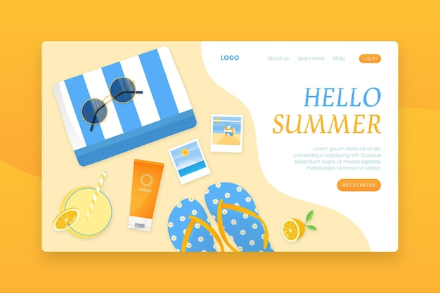 Landingspagina met hallo zomer