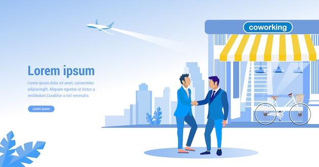 Landingspagina met illustratie van men in suit and coworking center. vector