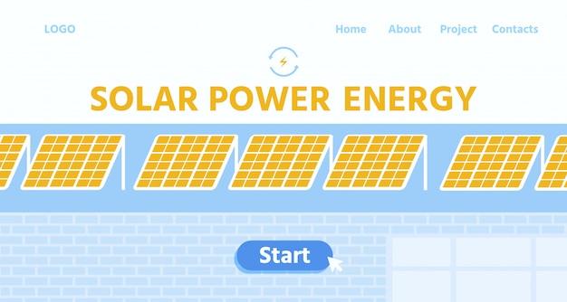Landingspagina met zonnepanelen voor zonne-energie
