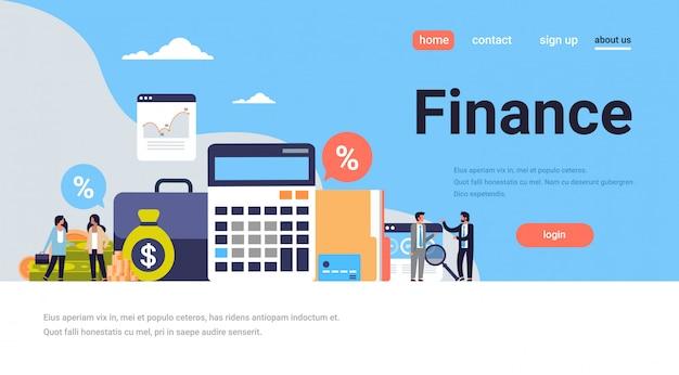 Landingspagina of websjabloon met illustratie, financieel thema