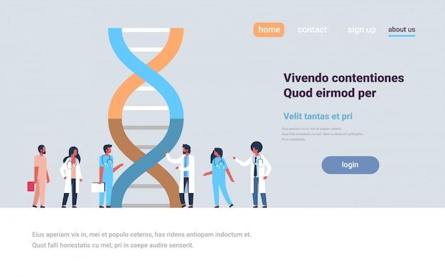 Landingspagina of websjabloon over genetische dna-analyse