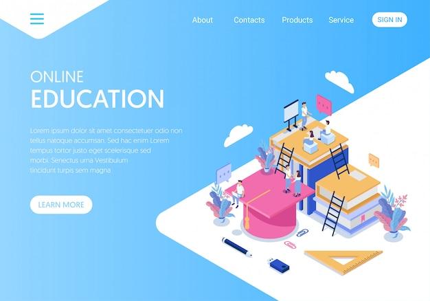Landingspagina of websjabloon voor online onderwijsbureaus