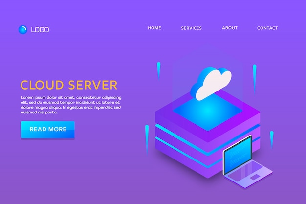 Landingspagina of websjabloonontwerp. cloud server