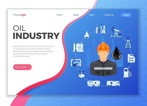 Landingspagina olie-industrie met pictogrammen extractie, productie en transport van olie en benzine.