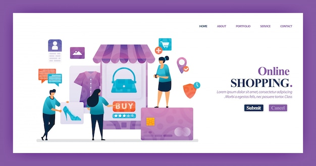 Landingspagina-ontwerp van online winkelen