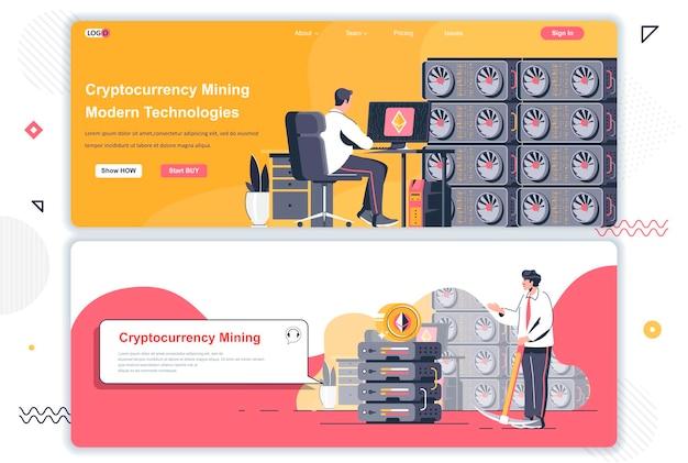 Landingspagina's van de marktplaats voor cryptocurrency