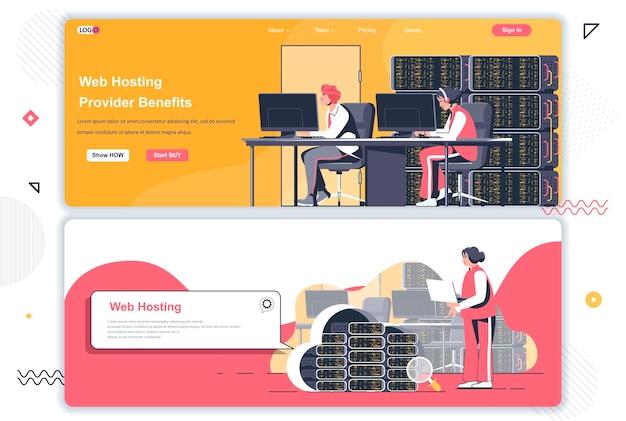 Landingspagina's van webhostingproviders