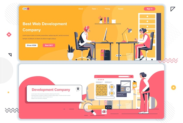 Landingspagina's van webontwikkelingsbedrijven