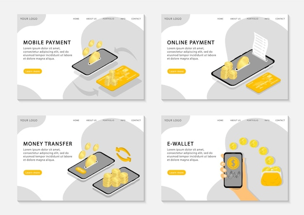 Landingspagina's voor mobiele betalingen. set webpagina's sjabloon voor online betaling, overschrijving en e-wallet.