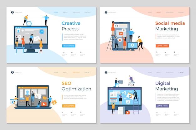 Landingspagina's zakelijke creatieve website bouw reclamebureau mobiele pc-ontwikkeling
