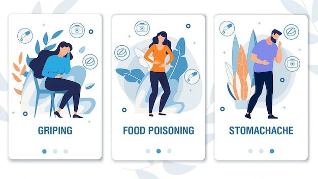 Landingspagina-set en mensen hebben zwakte symptomen