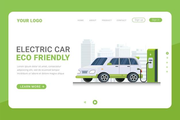 Landingspagina sjabloon elektrische auto opladen technologieontwerp