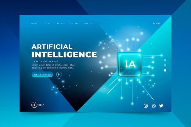 Landingspagina-sjabloon kunstmatige intelligentie