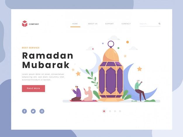 Landingspagina sjabloon, maand van ramadan mubarak, flat kleine personen bidden. mens die het heilige boek leest. symbolische religie bij lantaarn en halve maan. vlakke stijl