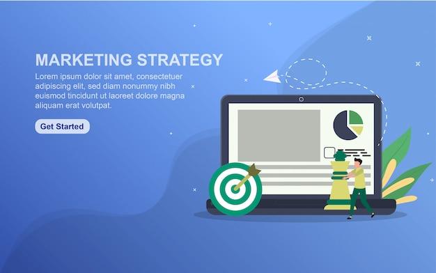 Landingspagina sjabloon marketingstrategie. platte ontwerpconcept webpaginaontwerp voor website.