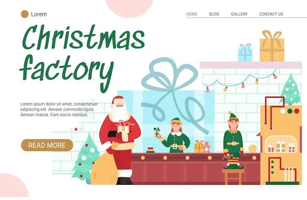 Landingspagina sjabloon met kerstfabriek