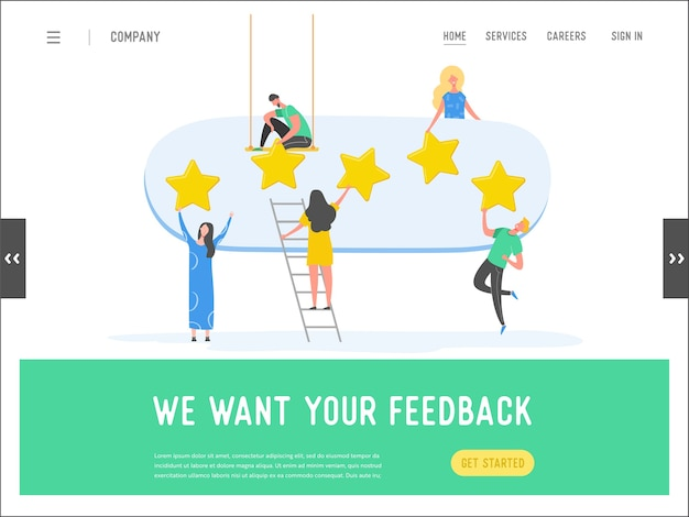 Landingspagina sjabloon review concept illustratie. vrouw en man tekens schrijven goede feedback met gouden sterren. klantentariefdiensten voor website of webpagina. vijf sterren positieve mening.
